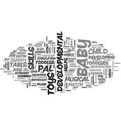 Baby developmental toys text word cloud concept vector