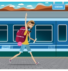 Backpacker at the railway station vector