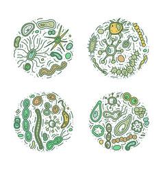 Bacteria cells sets vector
