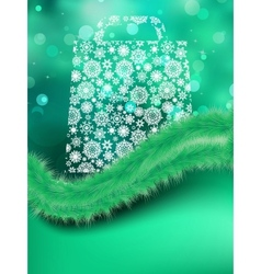Bag for shopping on green background EPS 8 vector image