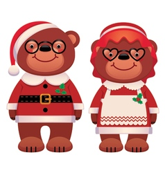 Bear Santa Claus and his wife isolated on white vector image