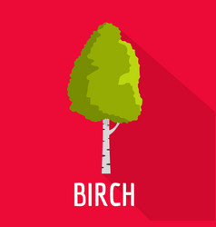 birch tree icon flat style vector image
