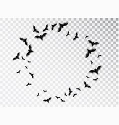 Black silhouette flock bats halloween vector