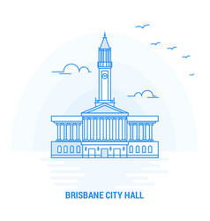 Brisbane city hall blue landmark creative vector