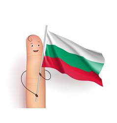 Bulgaria flag hold by finger vector