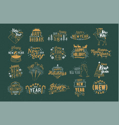 bundle of festive happy new 2019 year inscriptions vector image