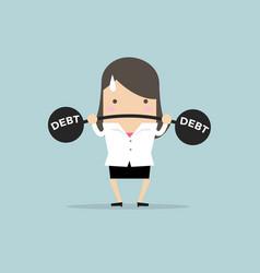 businesswoman lifting heavy weight debt vector image