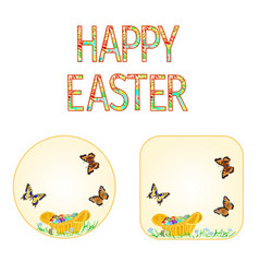 Buttons happy easter wicker basket vector