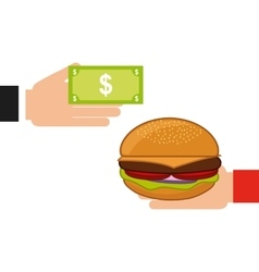 Buy a burger fast food vector