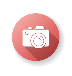 Camera red flat design long shadow glyph icon vector