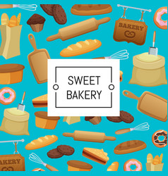 cartoon bakery elements set background vector image
