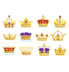 cartoon crowns golden king and queen royal vector image