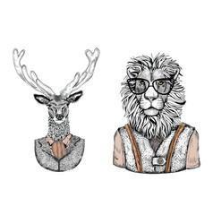 Cartoon stylish animals dressed in fashion clothes vector