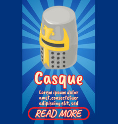 Casque concept banner comics isometric style vector
