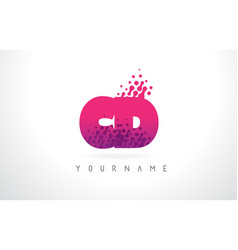Cd c d letter logo with pink purple color and vector