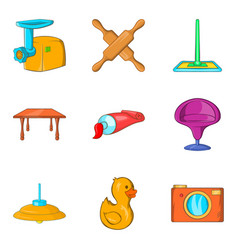 Child adoption icons set cartoon style vector