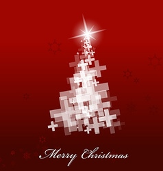 Christmas tree background created with plus signs vector image