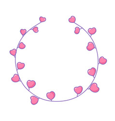 circle graphic frame with hearts valentine s day vector image