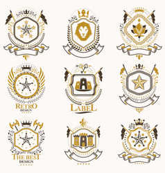 Classy heraldic coat arms collection of vector