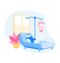 Clinic chamber with bandaged patient character vector