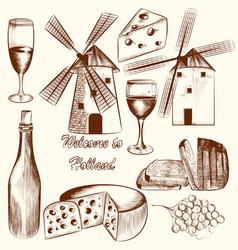 collection of hand drawn elements cheese wine vector image