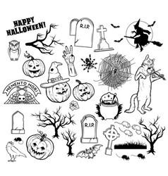 Coloring book halloween characters vector