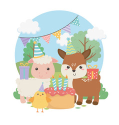 cute fawn and sheep in birthday party scene vector image