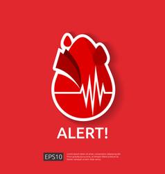 Danger heart attack alert symbol heartbeat vector