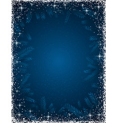 dark blue christmas background with white frame vector image