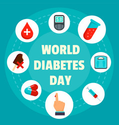 Diabetes day concept background flat style vector