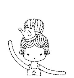 Dotted shape girl practice ballet with bun hair vector