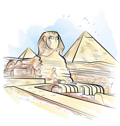 drawing color pyramids and sphinx in giza egypt vector image