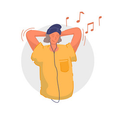 Enjoying music smiling teenager listening vector