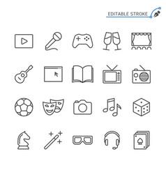 entertainment line icons editable stroke vector image