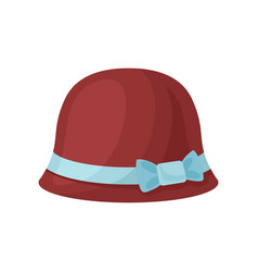 flat icon of burgundy female hat with blue vector image