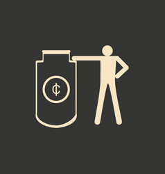Flat in black and white man and cash safe vector