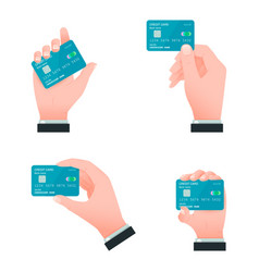 Flat male hands with credit cards vector