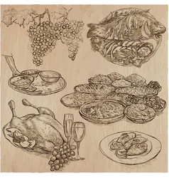 Food freehands hand drawn collection line art vector