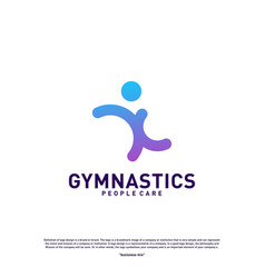 fun people healthy logo design concept gymnastics vector image
