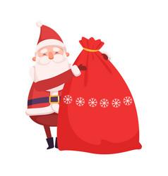 funny santa claus with big sack christmas gifts vector image