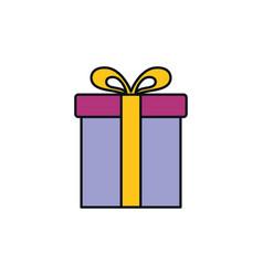 gift box celebration party line fill design vector image