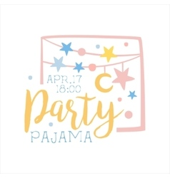 girly pajama party invitation card template vector image