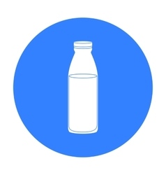 Glass milk bottle icon in black style isolated on vector