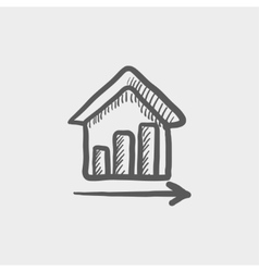 Graph of financial real estate growth sketch icon vector