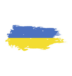 grunge brush stroke with ukraine national flag vector image
