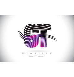 Gt g t zebra texture letter logo design with vector
