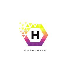 h colorful hexagon shaped letter logo design vector image