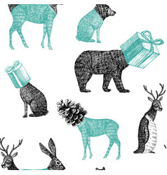 hand drawn winter animals seamless background vector image