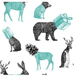 hand drawn winter animals seamless background vector image
