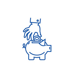 hand put coin in pig bank line icon concept hand vector image